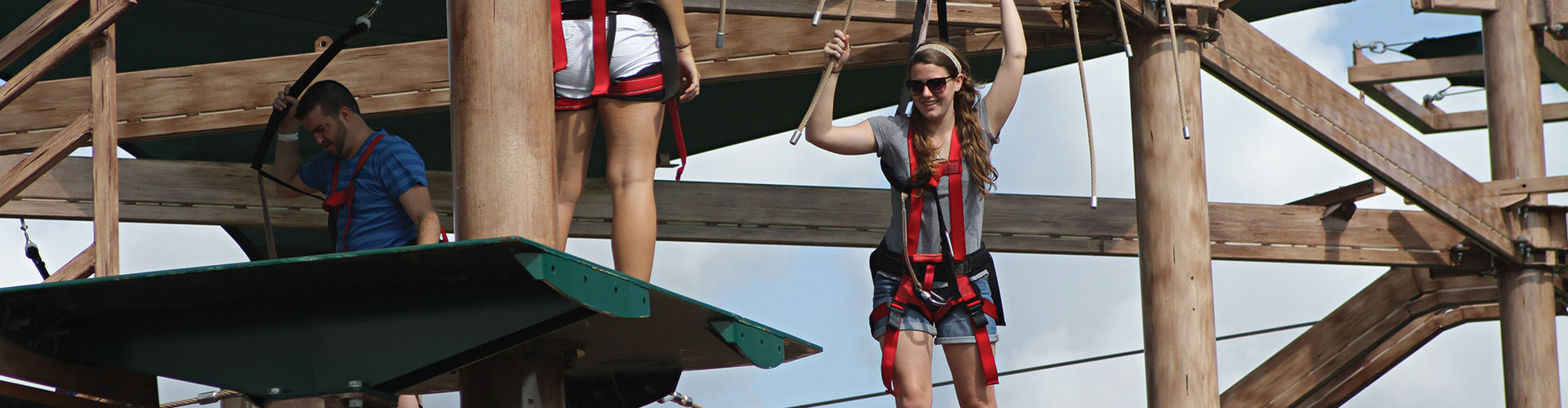 Woman on Ropes Course