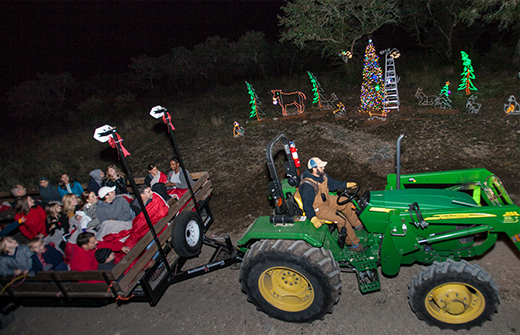 Green Tractor Pulling Hayride