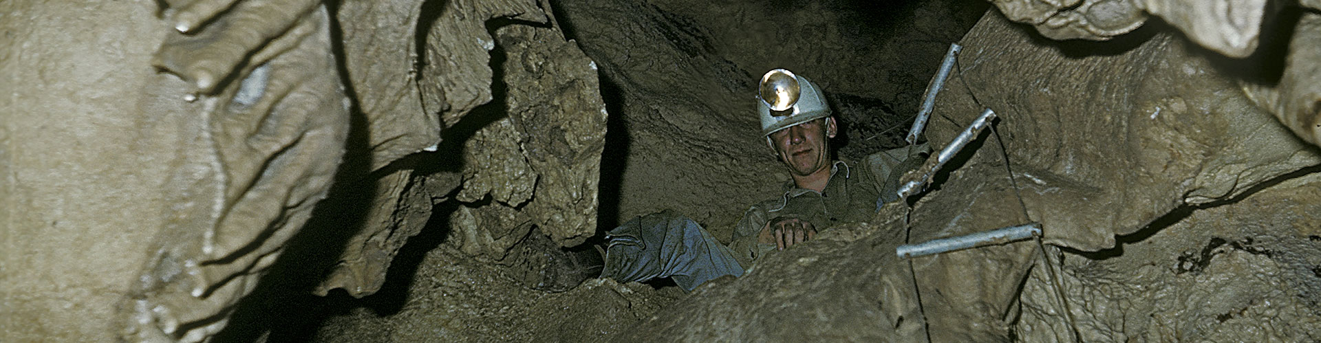 Historical Spelunker in Cave