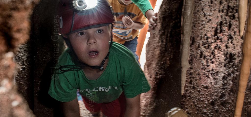 Boy Exploring Cave Simulation