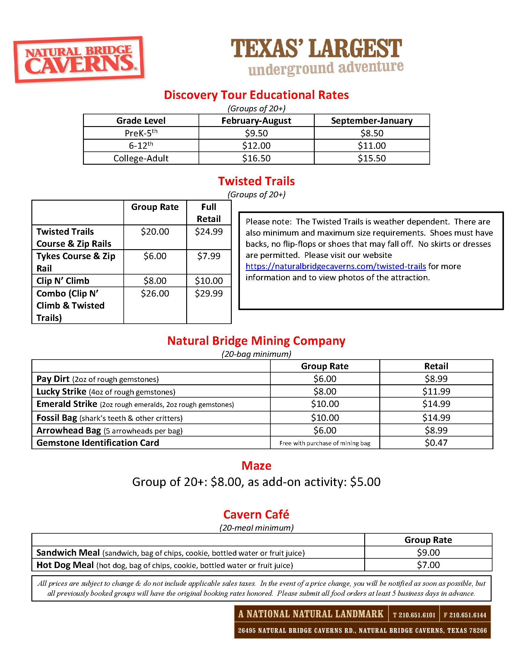 School Tours Pricing